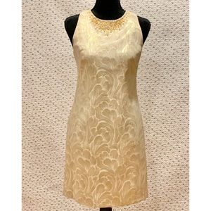 Maggy London Embellished Gold Dress - Size 4 GUC